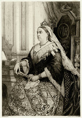 1819-1901 Drawing - Queen Victoria          Date 1819 - 1901 by Mary Evans Picture Library