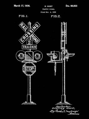 Rail Digital Art - Railroad Crossing Signal Patent 1935 - Black by Stephen Younts