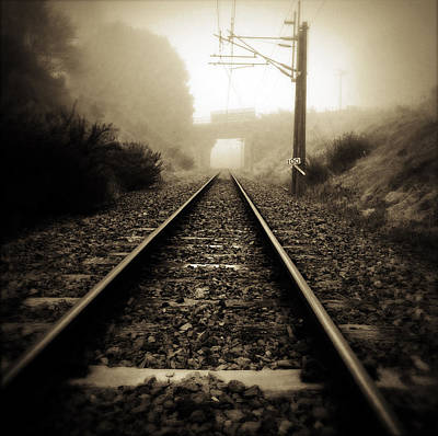 Brown Tones Photograph - Railway Tracks by Les Cunliffe
