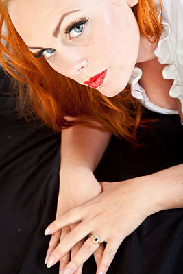 Red Hair Girl In Pin-up Style Portrait Shot In Studio Art Print by Jean Schweitzer