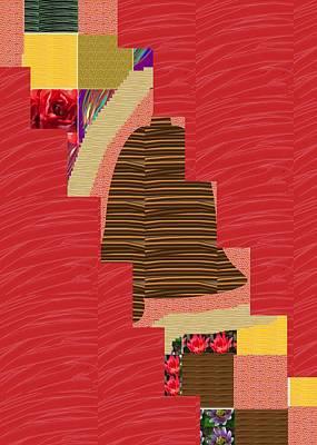 Painting - Red Silken Base Cross Through Art Decoration by Navin Joshi