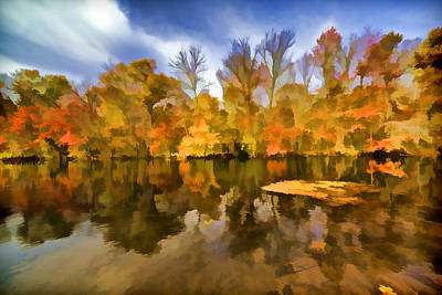 Impressionism Photos - Reflection of Autumn Colors on the Canal by David Letts