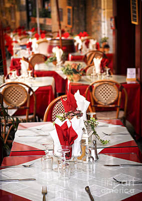 Invite Photograph - Restaurant Patio In France by Elena Elisseeva