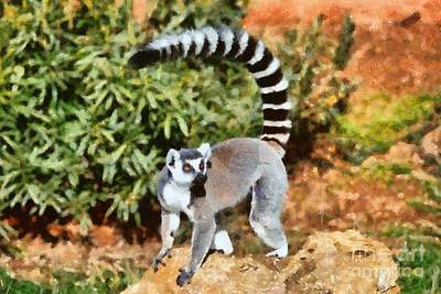 Monkey Painting - Ring Tailed Lemur by George Atsametakis
