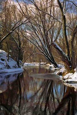 River In Winter Art Print by Pat Now
