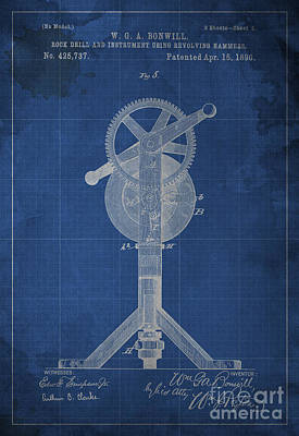 1900 Blueprint Digital Art - Rock Drill And Instrument Using Revolving Hammers by Pablo Franchi