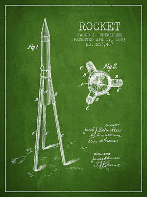 Space Exploration Drawing - Rocket Patent Drawing From 1883 by Aged Pixel