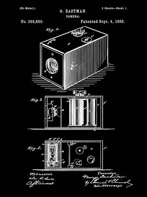 Cartridge Digital Art - Roll Film Camera Patent 1888 - Black by Stephen Younts