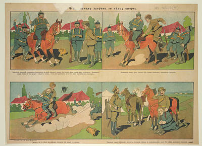 War Poster Photograph - Russian Posters Of World War I by British Library