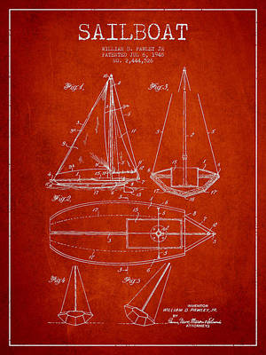 Sailboat Art Drawing - Sailboat Patent Drawing From 1948 by Aged Pixel