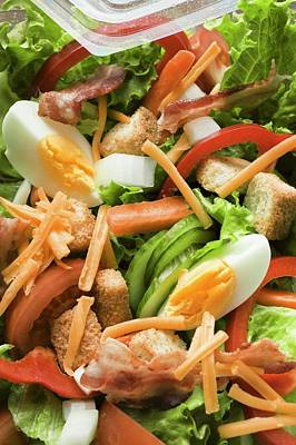 Lettuce Photograph - Salad Leaves With Vegetables, Egg, Cheese And Bacon To Take Away by Foodcollection