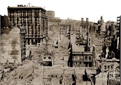 Photograph - Nob Hill From The Flood Building San Francisco Earthquake And Fire Of April 18 1906 by California Views Mr Pat Hathaway Archives
