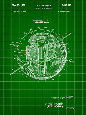 Gps Digital Art - Satellite Patent 1957 - Green by Stephen Younts