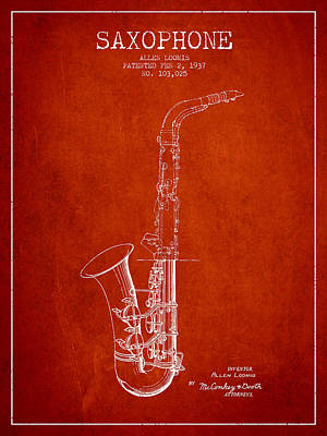Saxophone Drawing - Saxophone Patent Drawing From 1937 - Red by Aged Pixel