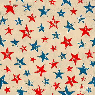 Graphic Wall Art - Digital Art - Seamless Pattern For 4th Of July by Allies Interactive