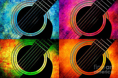 Digital Art - 4 Seasons Guitars 2 by Andee Design