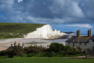 Photograph - Seven Sisters Cliffs And Coastguard Cottages by Gary Eason