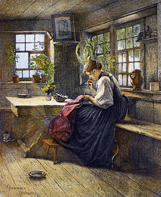 Seamstress Painting - Sewing, 19th Century by Granger