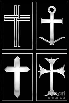 Digital Art - 4 Silver Crosses by Rose Santuci-Sofranko