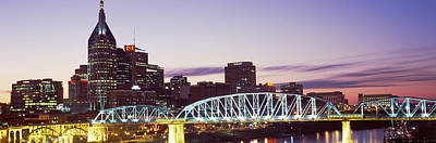 Downtown Nashville Photograph - Skylines And Shelby Street Bridge by Panoramic Images