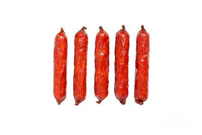 Kielbasa Photograph - Small Smoked Sausages by Aleksey Tugolukov