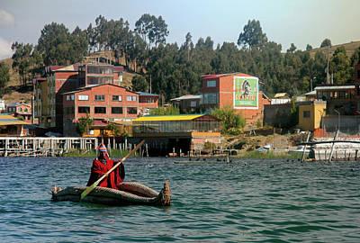 Canoe Photograph - South America, Bolivia, Lake Titicaca by Kymri Wilt