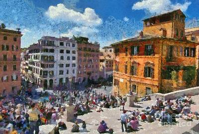 Painting - Spanish Steps At Piazza Di Spagna by George Atsametakis
