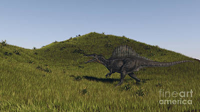 Spinosaurus Walking Across A Grassy Art Print by Kostyantyn Ivanyshen