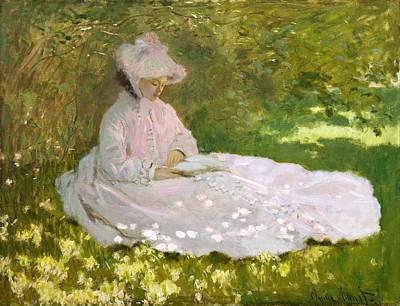 Impressionistic Landscape Painting - Springtime by Claude Monet