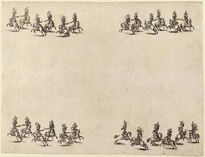 Cavaliers Drawing - Stefano Della Bella Italian, 1610 - 1664 by Quint Lox