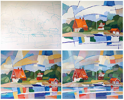 Progress Painting - 4 Steps Work In Process by Lutz Baar
