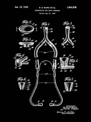 Listening Digital Art - Stethoscope Patent 1929 - Black by Stephen Younts