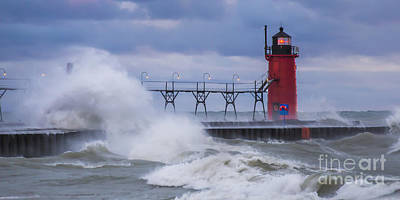 Storms At South Haven Art Print by Twenty Two North Photography