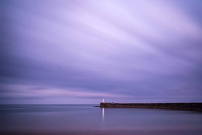 Stunning Long Exposure Landscape Lighthouse At Sunset With Calm  Art Print by Matthew Gibson
