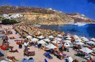 Painting - Super Paradise Beach by George Atsametakis