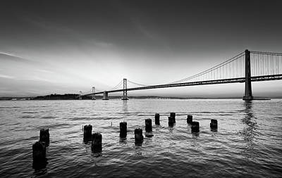 Suspension Bridge Over Pacific Ocean Art Print by Panoramic Images