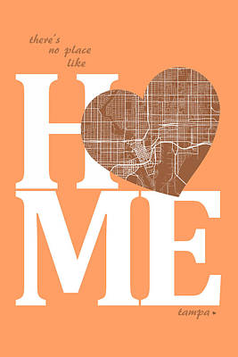 Heart Digital Art - Tampa Street Map Home Heart - Tampa Florida Road Map In A Heart by Jurq Studio