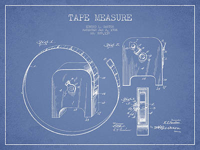 Carpenter Digital Art - Tape Measure Patent Drawing From 1906 by Aged Pixel