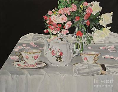 Teapot Painting - Tea And Roses by Debra Chmelina