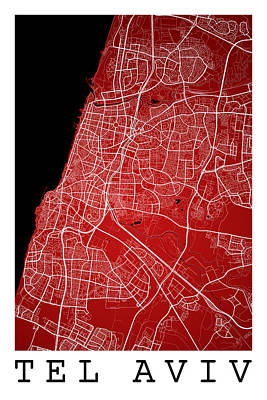 Map Art Digital Art - Tel Aviv Street Map - Tel Aviv Israel Road Map Art On Color by Jurq Studio