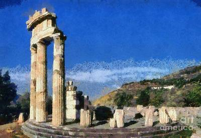 Painting - The Tholos At The Temple Of Athena Pronaia In Delphi II by George Atsametakis