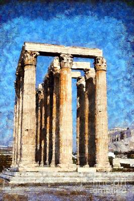 Temple Of Olympian Zeus  Art Print by George Atsametakis