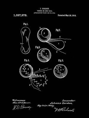 Tennis Ball Patent 1914 - Black Art Print by Stephen Younts