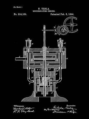Resistor Digital Art - Tesla Reciprocating Engine Patent 1894 - Black by Stephen Younts