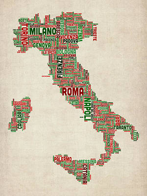 Text Map Of Italy Map Art Print by Michael Tompsett