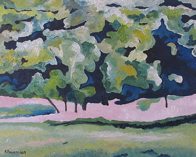 Quebec Painting - The Blue And Green Trees Quebec Canada by Francois Fournier