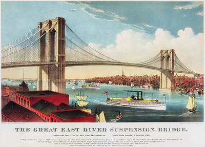 Suspension Drawing - The Brooklyn Bridge by Mountain Dreams