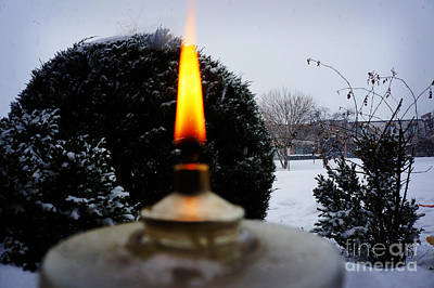Wooden Photograph - The Candle In The Snow by Celestial Images