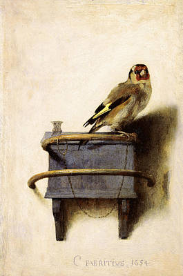 Animals Paintings - The Goldfinch by Carel Fabritius
