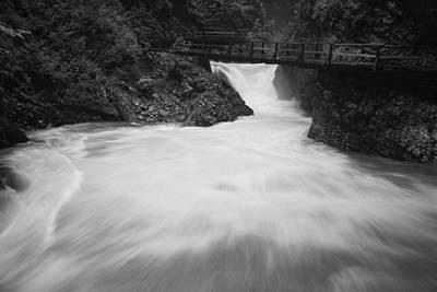 The Soteska Vintgar Gorge In Black And White Art Print
